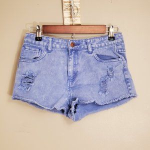 Forever 21 Bright Blue Distressed Jean Shorts